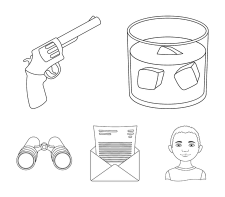 A glass of whiskey, a gun, binoculars, a letter in an envelope illustration.Detective set collection icons in outline style vector symbol stock illustration web. Illustration