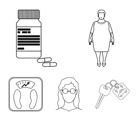 Full woman, a girl with glasses, a scales with exquisite result. Diabeth set collection icons in outline style vector symbol stock illustration web.
