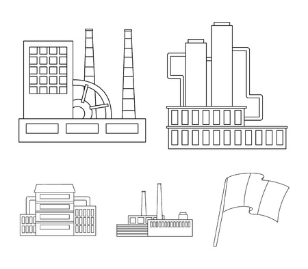 Factory set collection icons in outline style vector symbol stock illustration web. Ilustracja