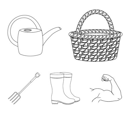 Farm and gardening set collection icons in outline style vector symbol stock illustration web.
