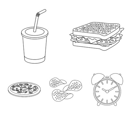 Fast food set collection icons in outline style vector symbol stock illustration web.