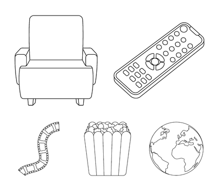 Films and movies set collection icons in outline style vector symbol stock illustration web. Stock Illustratie