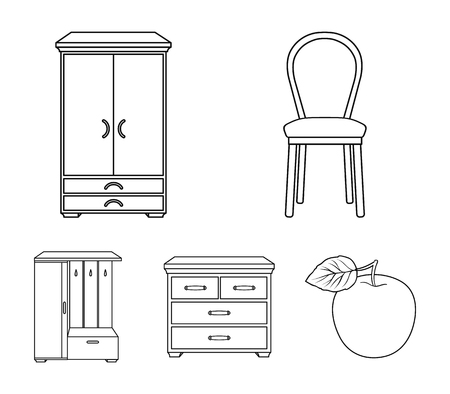 Furniture and home interior set collection icons in outline style vector symbol stock illustration web.