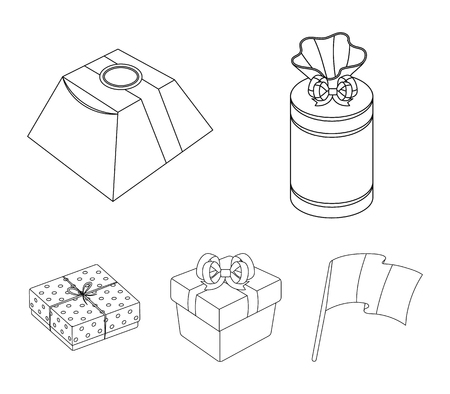 Gifts and certificates set collection icons in outline style vector symbol stock illustration web.