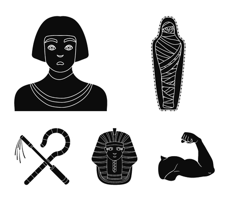 Ancient Egypt set collection icons in black style symbol stock illustration