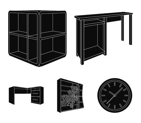 Dressing table, corner shelves, computer desk, wardrobe with glass - Bedroom furniture set collection icons in black illustration
