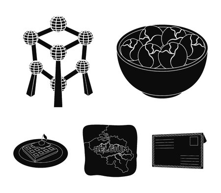 Territory on the map, brussels sprouts and other symbols of the country - Belgium set collection icons in black style vector symbol stock illustration Illustration