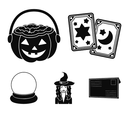Tarot cards, holiday halloween, magician in a hat, crystal ball - Black and white magic set collection icons in black style symbol stock illustration Ilustração