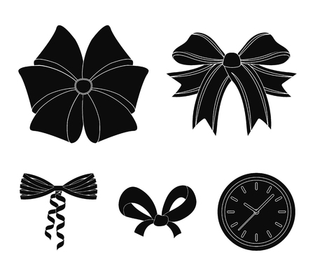 Bow, ribbon, decoration, and other web icon in black style. Gift, bows, node, icons in set collection. Illustration