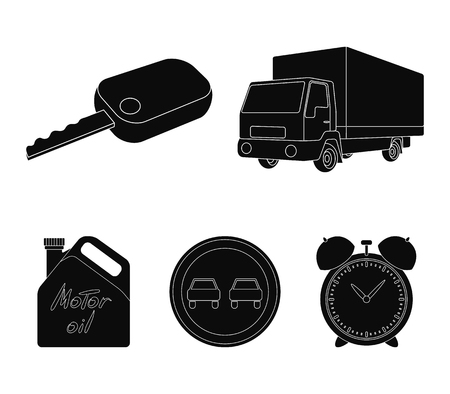 Truck with awning, ignition key, prohibitory sign, engine oil in canister, Vehicle set collection icons in black style symbol stock illustration Иллюстрация