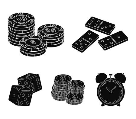 Domino-botten, een stapel fiches, een stapel mont, een stapel dollarmunten, speelblokken, een wekker. Gokkende inzamelingspictogrammen in zwarte illustratie
