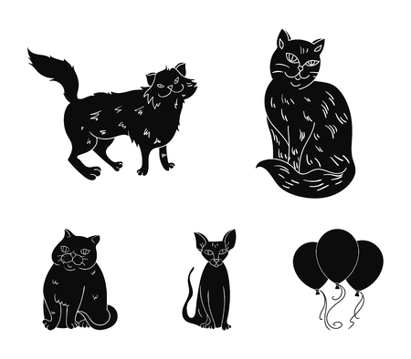 Cat breeds and a set of balloon set collection icons in black illustration. Illustration
