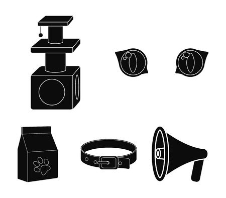 Cats-eye, cat lodge, collar, food pack - Things a cat use set collection icons in black illustration. Иллюстрация