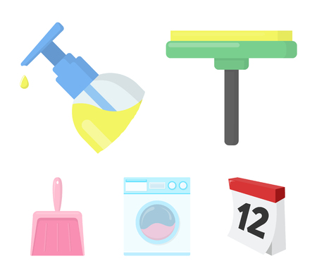 Spray bottle, wiper, dustpan and a washing machine  set collection icons in colored illustration