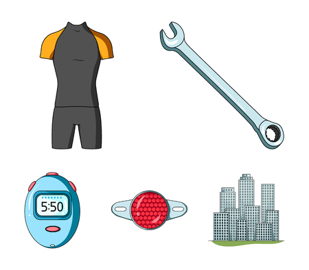 A wrench, a bicyclist attire, a reflector, a timer set collection icons in colored illustration