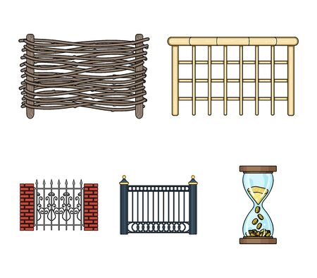 A fence of metal and bricks ,wooden palisade. A different fence set collection icons in colored illustration