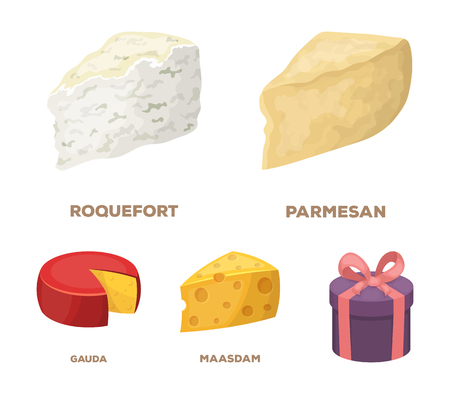 Parmesan, roquefort, maasdam, gauda set collection icons in colored illustration