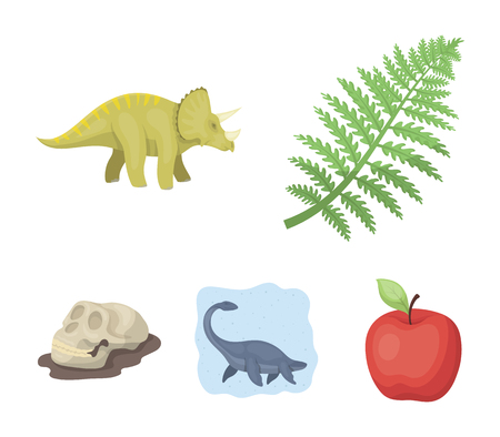 Sea dinosaur, triceratops, prehistoric plant, human skull -  Dinosaur and prehistoric period set collection icons in colored illustration Illustration