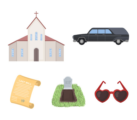 Funeral ceremony set collection icons in cartoon style vector symbol stock illustration web.