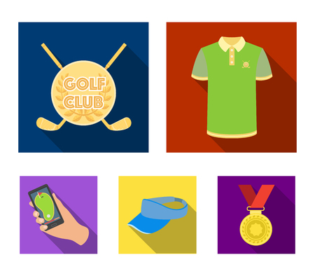 Golf club set collection icons in flat style vector symbol stock illustration web.