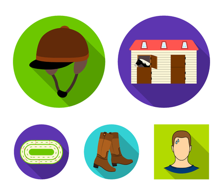 Hippodrome and horse set collection icons in flat style vector symbol stock illustration web. Illustration