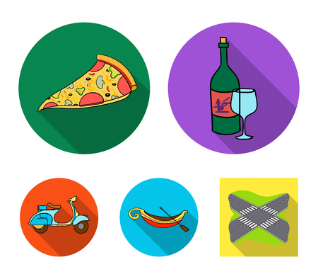 Italy set collection icons in flat style vector symbol stock illustration web.