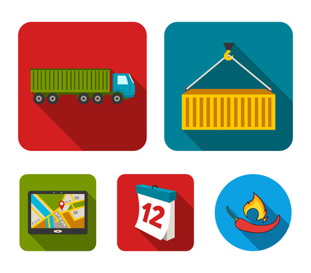 Logistic set collection icons in flat style vector symbol stock illustration web.