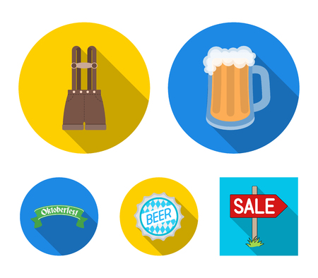 Oktoberfest collection icons in flat style vector symbol stock illustration web.  イラスト・ベクター素材