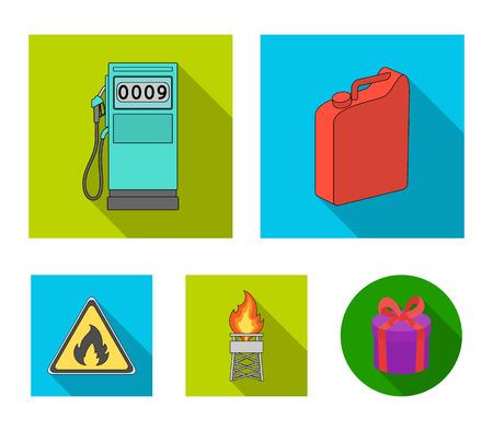 Oil set collection icons in flat style vector symbol stock illustration web. Ilustração