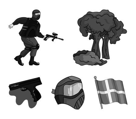 Paintball set collection icons in monochrome style vector symbol stock illustration web.