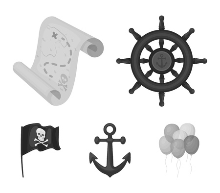 Pirates set collection icons in monochrome style vector symbol stock illustration web. Stok Fotoğraf - 95729176