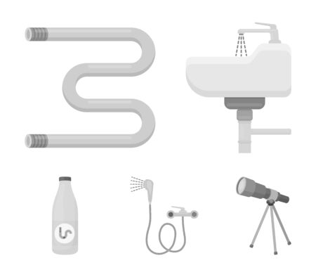 Plumbing set collection icons in monochrome style vector symbol stock illustration web.