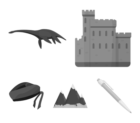 Scotland set collection icons in monochrome style vector symbol stock illustration web. Çizim