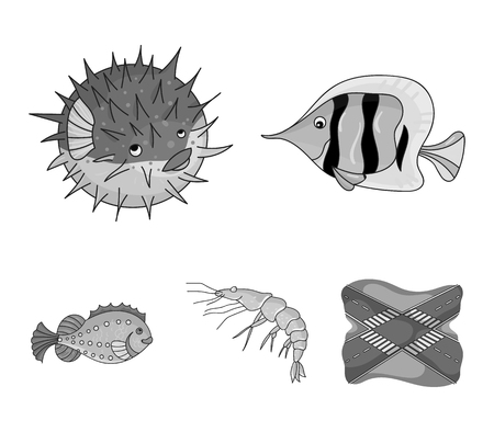 Sea animals set collection icons in monochrome style vector symbol stock illustration web.