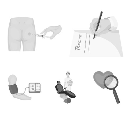 Medicine set collection icons in monochrome style vector symbol stock illustration web.