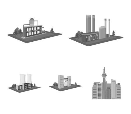 Factory and industry set collection icons in monochrome style isometric vector symbol stock illustration web.  イラスト・ベクター素材
