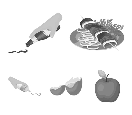 Food and Cooking set collection icons in monochrome style vector symbol stock illustration web.