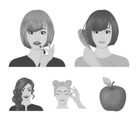 Hairdresser, cosmetic, salon, and other web icon in monochrome style.