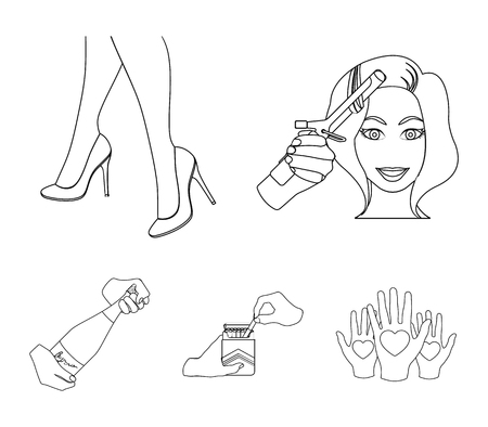 Curling hair iron, high heels and other web icons in outline style. Illustration
