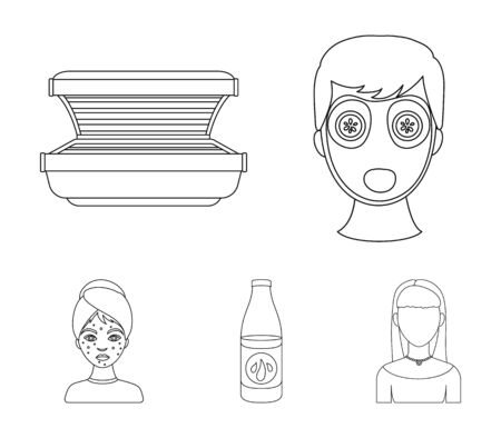 Skin care set collection icons in outline style vector symbol stock illustration web.