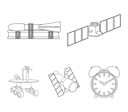 Space technology set collection icons in outline style vector symbol stock illustration web.  イラスト・ベクター素材