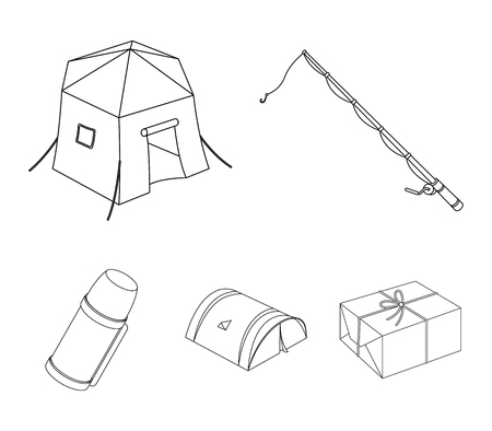 Spinning for fishing, tent, thermos.Tent set collection icons in outline style vector symbol stock illustration web.