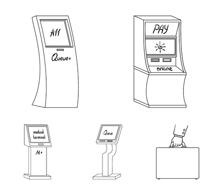 Medical terminal, ATM for payment,apparatus for queue. Terminals set collection icons in outline style isometric vector symbol stock illustration web .