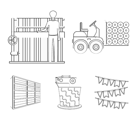 Equipment, machine, forklift and other web icon in outline style.Textiles, industry, tissue, icons in set collection. Çizim
