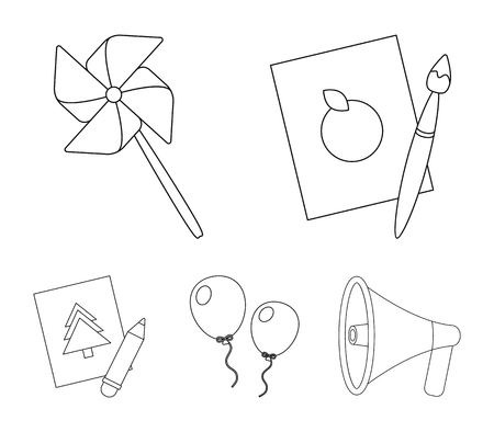 Pictures, a windmill, balloons. Tigers set collection icons in outline style vector symbol stock illustration web.