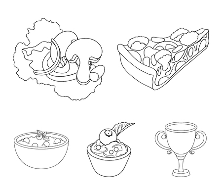 Piece of vegetarian pizza with tomatoes, lettuce leaves with mushrooms, blueberry cake, vegetarian soup with greens. Vegetarian dishes set collection icons in outline style vector symbol stock illustration web. Illusztráció