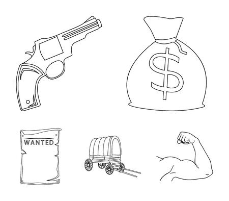 Se está buscando una bolsa con dinero, Colt, van. Wild West establece los iconos de la colección en la web de contorno estilo vector símbolo stock de ilustración