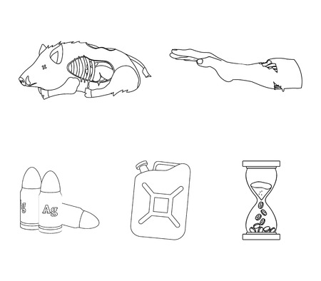 Rotten, flesh, boar, and other web icon in outline style.Apocalypse, end, world icons in set collection. Illusztráció