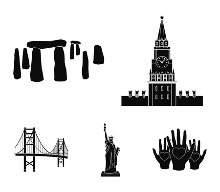 Building, interesting, place, coliseum. country set collection icons in black style vector symbol stock illustration web.