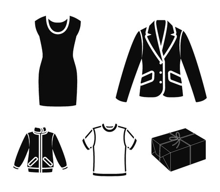 A mans jacket, a tunic, a T-shirt, a business suit. Clothes set collection icons in black style vector symbol stock illustration web.